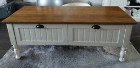 2 drawer Coffee Table Cream with Dark Oak Veneer Top also used as a sideboard excellent condition
