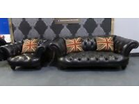 Stunning Chesterfield Tetrad Oskar Large 2 Seater Sofa & Club in Black Leather - UK Delivery