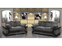 BLACK/GREY OR BROWN/BEIGE - NEW DINO JUMBO CORD Corner/3+2 Seater Sofa - BLACK GREY OR BROWN BEIGE