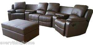 BROWN-BLACK-REAL-GENUINE-LEATHER-HOME-THEATER-SEATING-SECTIONAL-MOVIE-4-SEATS