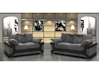 LOVELY OFFER SPECIAL PRICE - BRAND NEW DINO 3+2 SOFA BLACK/GREY + DELIVERY