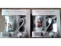4x Merry Christmas Mugs & Coasters Set