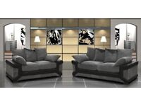 SPECIAL PRICE - BRAND NEW DINO 3+2 SOFA BLACK/GREY + DELIVERY