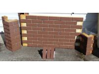 9 BRICK-TILE-PANELS NF535 colour Red Brown, Deep Pitted, each panel 138.5x74.5cm (WxH) 1.03m2.