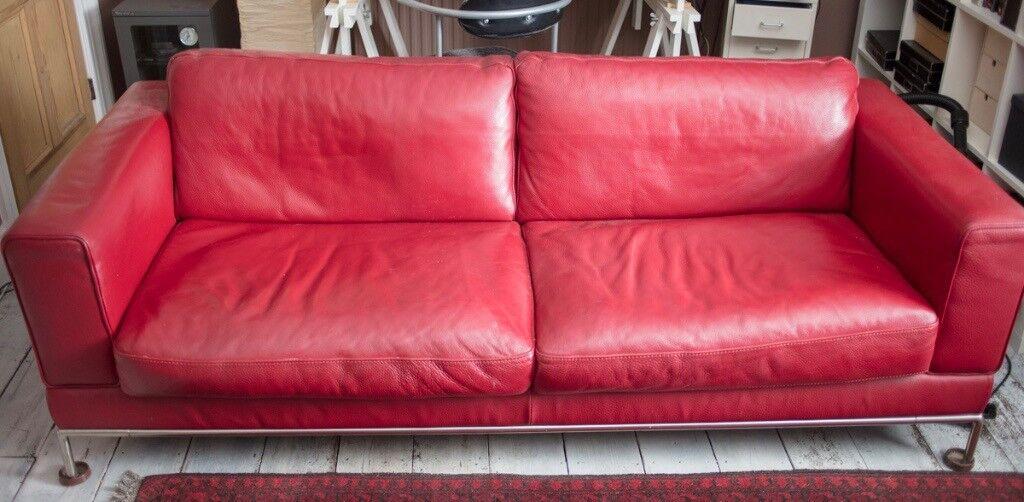 Ikea Red Leather Sofa