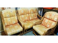 CANE CONSERVATORY FURNITURE TWO SEATER AND TWO CHAIRS - THREE PIECE SET