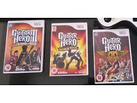 Nintendo Wii Guitar Hero Games Bundle, Guitar Hero , Guitar Hero 3 and Guitar Hero World Tour.