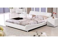 Madrid white faux leather double bed frame