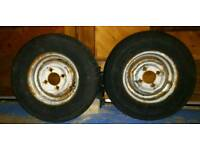 "10"" 10 inch trailer wheels & 145/10 tyres ideal for mini car or bike motorcycle trailor"