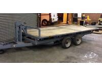 FLAT BED TRAILER WITH RAMPS AND WINCH