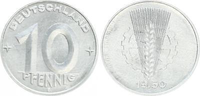 Fehlprägung DDR 10 Pfennig 1950 E nachgeschnittene Jahreszahl 1950 prfr.-st