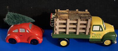 2 Dept 56 Accessory Pieces - Holiday Farm Truck And Red Car With Christmas Tree
