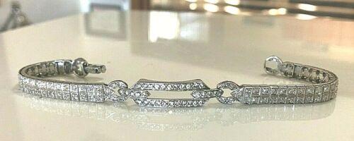 ANTIQUE UNIQUE ART DECO 132 DIAMOND PLATINUM TWO ROW BRACELET