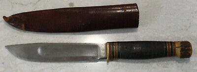 Vintage Marbles Gladstone Stag pommel Knife with Tube Sheath