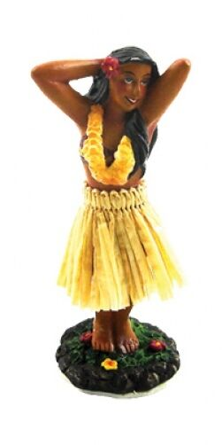 "New Hawaiian Hawaii Souvenir Mini Dashboard Doll Hula Girl Posing 4"" #40795"