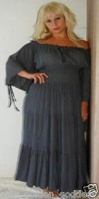 gray peasant dress renaissance smocked sexy s m - Sexy Renaissance Kleider