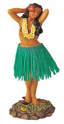Hawaiian Hawaii Island Car Dashboard Hula Doll Dancer Girl Posing Green # 40623