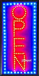 US-Seller-Vertical-Animated-Led-Neon-light-OPEN-Sign-on-off-Switch-Chain-19x10