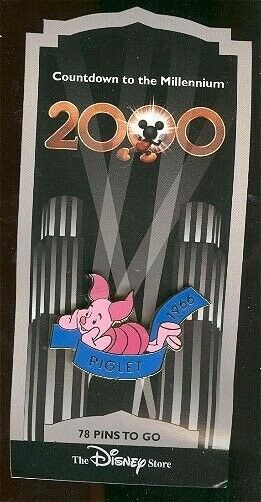 OLD Disney Pin Countdown to the Millennium Series 79 Piglet 1966 Name Banner NOC