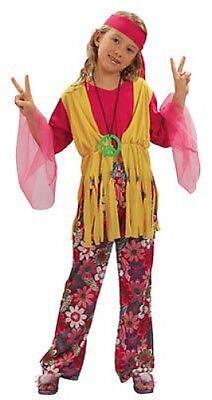 HIPPIE GIRL HALLOWEEN FANCY DRESS COSTUME CHILDRENS SMALL REDUCED FREE UK P+P