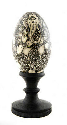 Ganesh Painting Egg Wooden Painted Lucky Charm 2