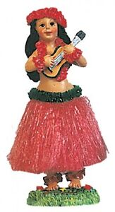 NEW-Hawaiian-Hawaii-Dashboard-Hula-Doll-RED-Skirt-Dancer-Girl-w-UKULELE-40606