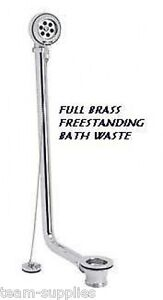 Exposed Traditional Freestanding Roll Top Bath Waste Brass Chrome Plug Chain