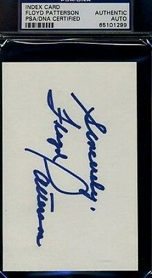 FLOYD PATTERSON SIGNED PSA/DNA 3X5 INDEX CARD CERTIFIED AUTHENTIC AUTOGRAPH