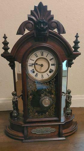 Beautiful Antique Ansonia Carved Wood Mirrored Brass Cherubs Mantle Clock W/Key
