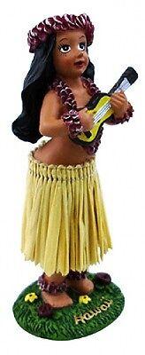 "Hawaiian Souvenir Miniature Car Dashboard Hula Doll Girl w/ Ukulele  4"" 40779"