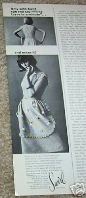 1964 vintage print ad - Swirl wrap tie Apron house Dress advertising clipping