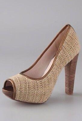 House Of Harlow 1960 Richie Paulina Peep Toe Crochet Platform Shoes Sandal 7 40