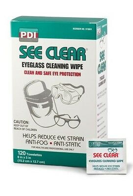 See Clear Eye Glass Cleaning Wipes, Eyeglass Wipes, PDI D25431 - 120 Count Box