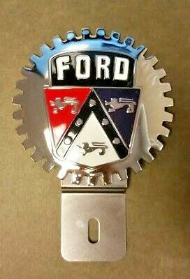 NEW Vintage Ford Crest License Plate Topper- Chromed Brass- Great Gift Item!