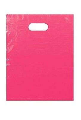 Plastic Shopping Bags 1000 Pink Low Density Merchandise Diecut Handles 12 X 15