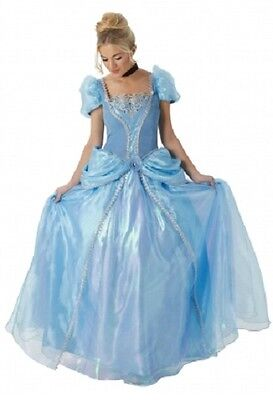 Ladies Premium Deluxe Disney Cinderella Full Length Fancy Dress Costume Outfit (Adult Cinderella Outfit)