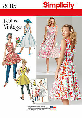 Simplicity 8085 Paper Sewing Pattern 1950's Vintage Retro Style Wrap Dress - Style Sewing Pattern