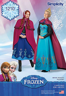 Simplicity 1210 Disney Frozen Elsa Anna Costumes for Misses New Uncut (Anna Frozen Costumes For Adults)