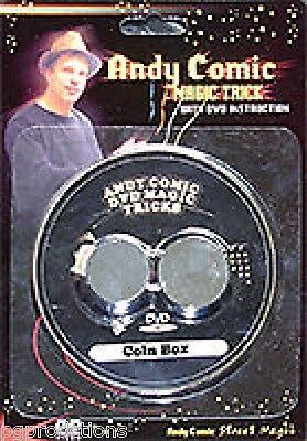 CHU'S COIN BOX & DVD Set Silver Brass Metal Close Up Magic Trick Thru Hand SALE -