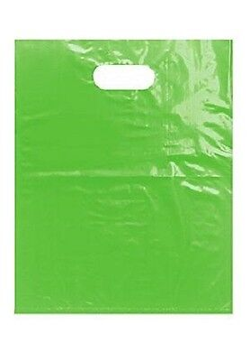 1000 Lime Green Plastic Bags Shopping Merchandise Retail Gift 12