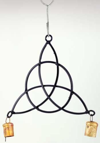 """Black Metal Triquetra Triqueta Wind Chime with Tin Bells 11"""" Wicca Pagan Decor"""