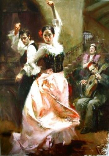 """Pino Ha S/N Embellished Stretched Canvas """"Dancing in Barcelona"""" Spanish 48X34"""