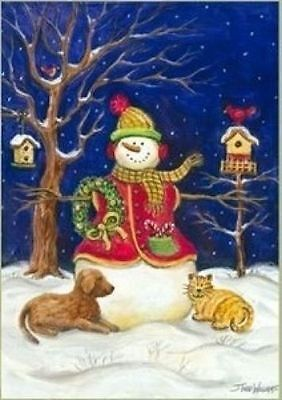 "Snowman & Pets Winter Garden Flag Seasonal Yard Banner 12"" x 18"""