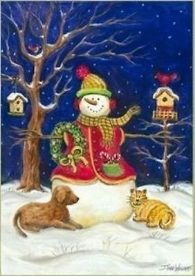 Snowman & Pets Winter Garden Flag Seasonal ...