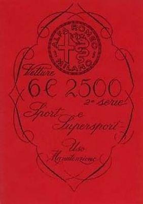 ALFA ROMEO Vetture 6C 2500 Parts Manual Book catalogue paper car
