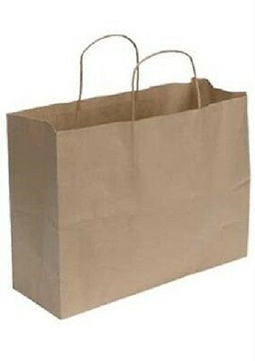 Paper Shopping Bags 100 Vogue Natural Kraft 16 X 6 X 12 Retail Merchandise