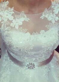 Designer ivory pearl wedding dress white rose