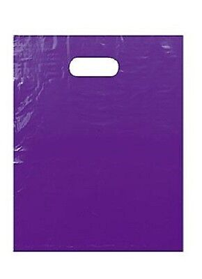 "1000 Purple Plastic Bags Shopping Merchandise Retail Gift 12"" x 15"" Diecut"