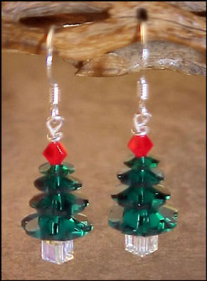 Swarovski Crystal Bead Emerald Green Christmas Tree Earrings #10