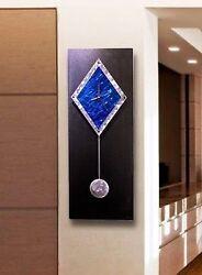 Statements2000 Metal Wall Clock Art Abstract Modern Black Blue Decor Jon Allen